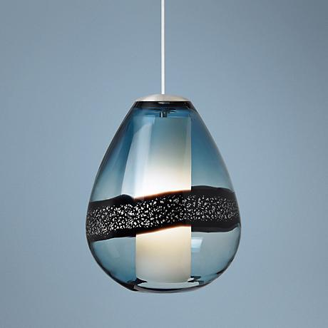 "LBL Miyu Steel Blue and Satin Nickel 10"" Wide Pendant Light"