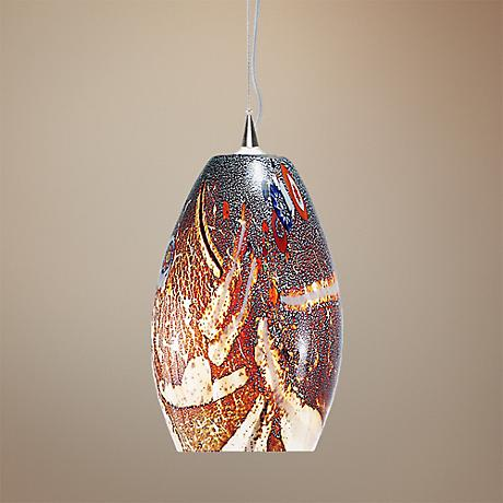 "LBL Monty 7 1/2"" Wide Mocha Murano Glass Pendant Light"
