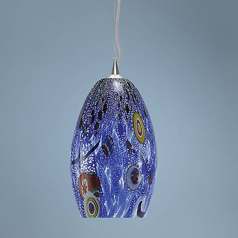 "LBL Monty 7 1/2"" Wide Blue Murano Glass Mini Pendant"