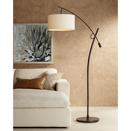 Bronze Boom Arc Floor Lamp with Linen Shade