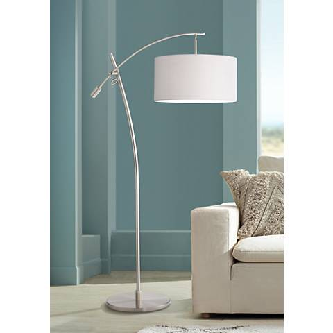 Possini Euro Brushed Steel Boom Arched Floor Lamp
