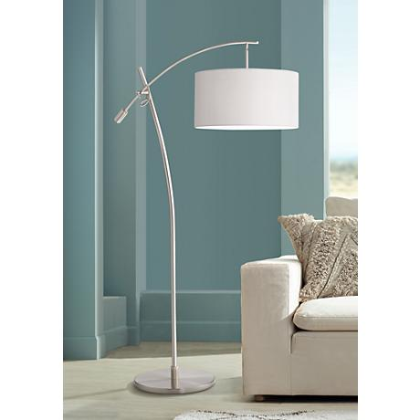 Boom Arc Floor Lamp in Chrome with Linen Shade