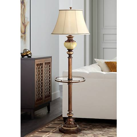 Kathy Ireland Floor Lamp with Night Light and Glass Tray