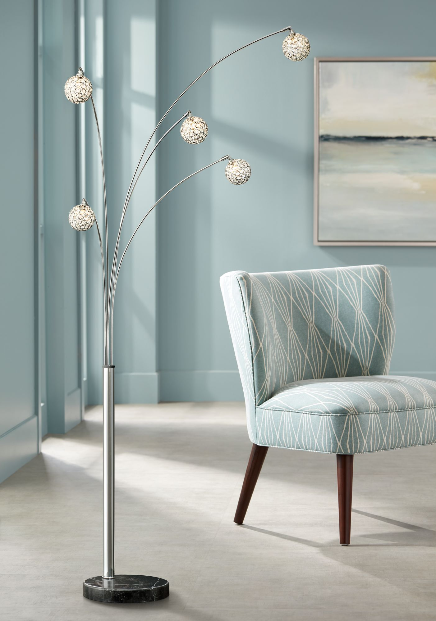 Possini Euro Design Allegra Crystal Ball Arc Floor Lamp - #V2770 ...
