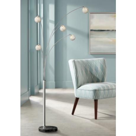 Possini Euro Design Allegra Crystal Ball Arc Floor Lamp V2770