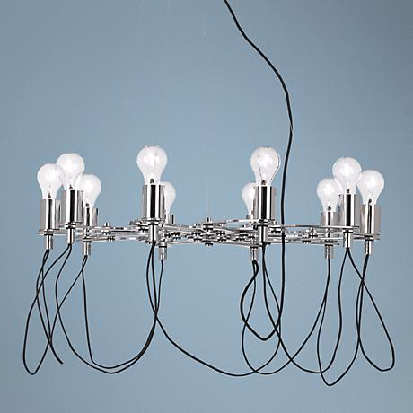 Possini Euro Chrome Light Bulb Cluster Chandelier