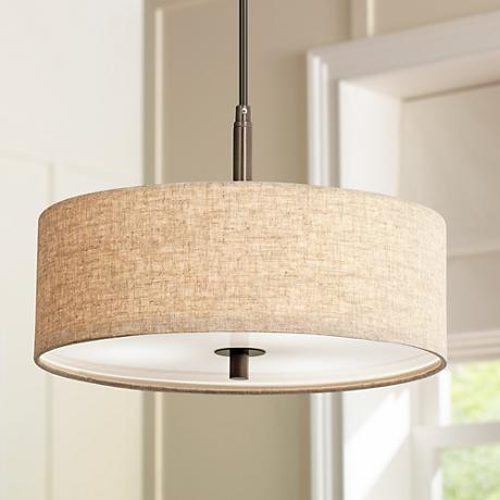 "Possini Euro Design Cream Drum 16""-W Pendant Light"
