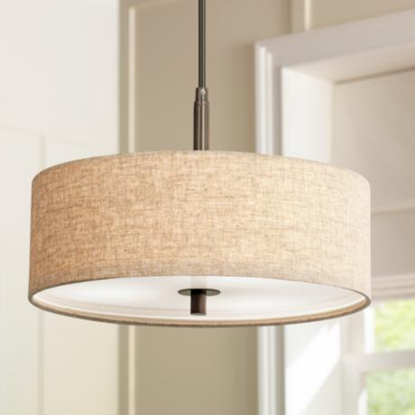 "Cream Fabric Drum 3-Light 16"" Wide Bronze Pendant Light"
