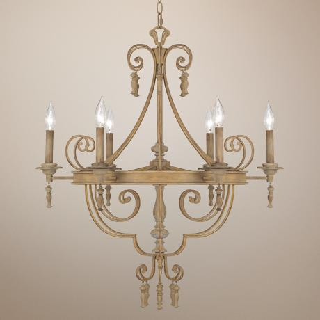 "French White 6-Light 28"" Wide Chandelier"
