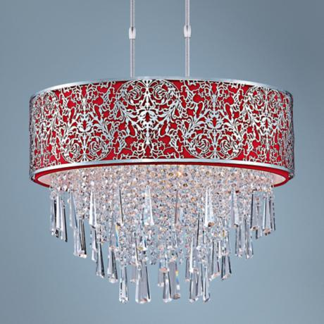 "Maxim Rapture 21"" Wide Red and Satin Nickel Pendant Light"