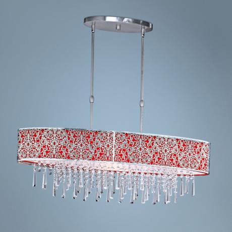 "Maxim Rapture 37 3/4"" Red and Satin Nickel Island Chandelier"