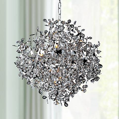 "Maxim Comet 25"" Wide Chrome and Crystal Chandelier"