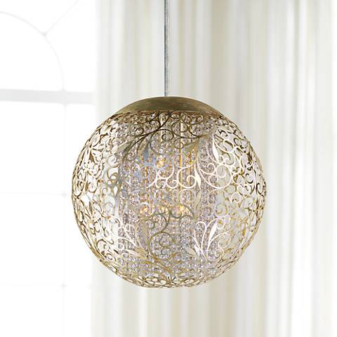 "Maxim Arabesque 23"" Wide Round Golden Silver Pendant Light"