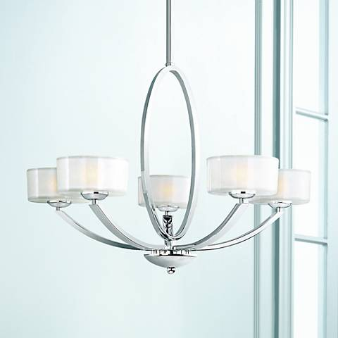 "Maxim Elle 30"" Wide Polished Chrome Chandelier"