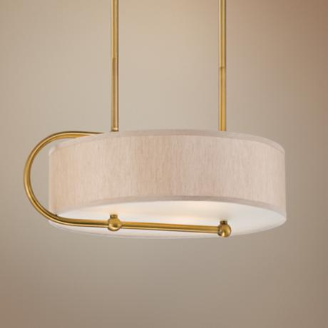 "Round Linen 22 1/2"" Wide Gold Bronze Pendant Light"