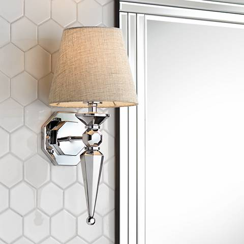 fabric shade 17 1 4 high chrome wall sconce v3573 lamps plus. Black Bedroom Furniture Sets. Home Design Ideas