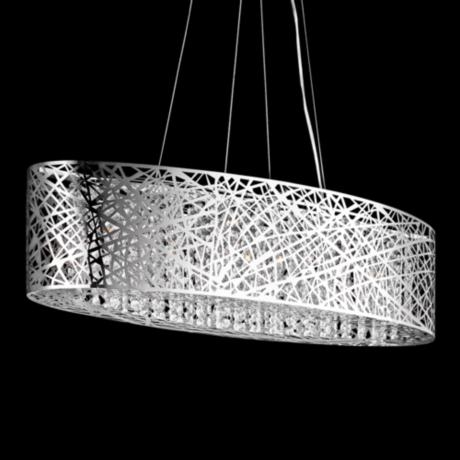 "ET2 Inca Web 32"" Wide Polished Chrome Oval Pendant Light"