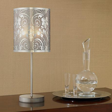 "Cut-Out Steel Floral Scroll 19 1/2"" High Accent Table Lamp"