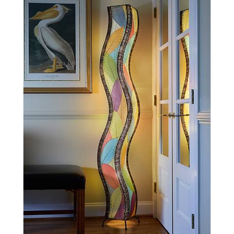 Eangee Wave Multi-Color Cocoa Leaves Giant Tower Floor Lamp