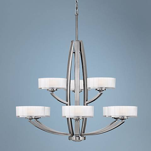 "Hinkley Meridian Collection 34"" Wide Nickel Pendant Light"