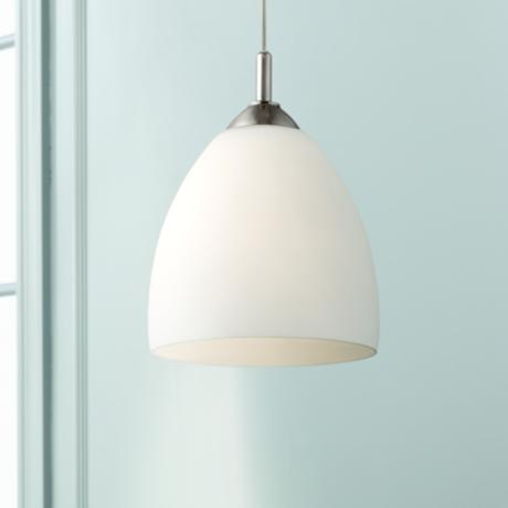 "Opal Glass Plug-In Swag Style 12"" High Pendant Light"