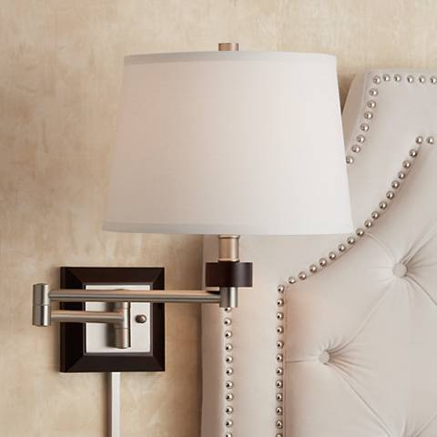 Brushed Steel and Wood Plug-In Swing Arm Wall Light
