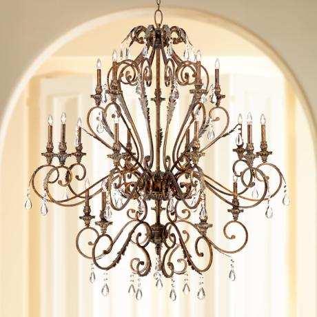 "Acanthus and Crystal 68"" Wide Bronze Chandelier"