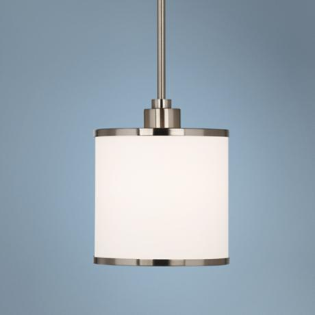 "Possini Euro White Drum 7"" Brushed Steel Mini Pendant Light"