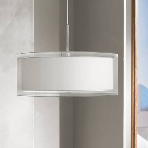 "Possini Euro Double Drum 20"" Wide White Pendant Light"