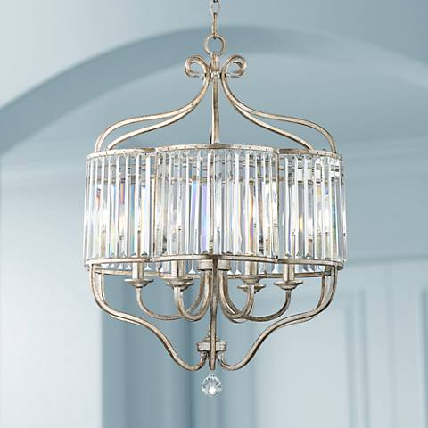 "Soft Silver 6-Light 22"" Wide Crystal Pendant Light"