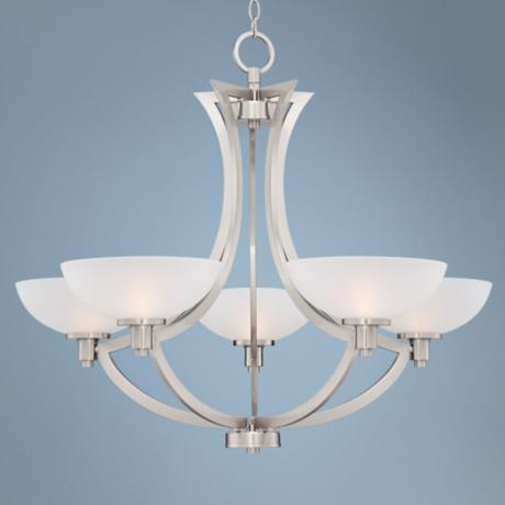 "Etched Glass 34"" Wide 5-Light Chandelier"