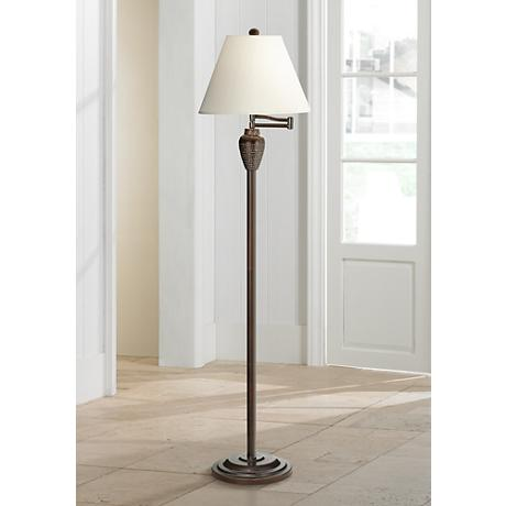 Bullock Bronze Hammered Swing Arm Floor Lamp