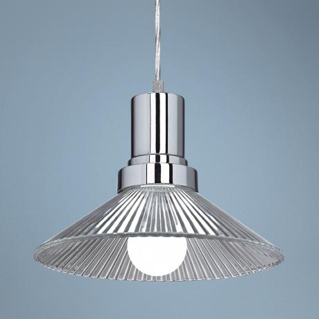 "Ribbed Glass 10"" Wide LED Chrome Mini Pendant Light"