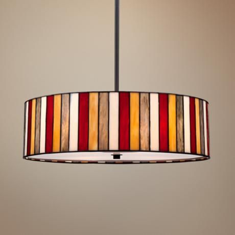 "Striped Art Glass 20"" Wide Bronze Pendant Light"