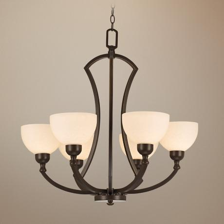 "Bronze with Opal Glass 28 1/4"" Wide Chandelier"