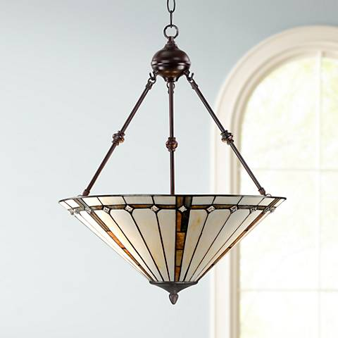 "Tiffany Style 3-Light Ivory 24"" High Glass Pendant Light"