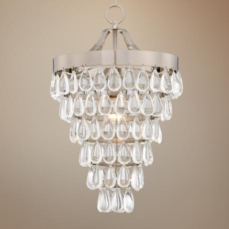 "Brushed Steel and Crystal 12 1/2"" Wide Pendant Light"