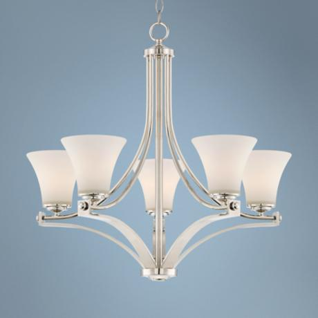 "Polished Nickel Opal Glass 27 1/2"" Wide 5-Light Chandelier"