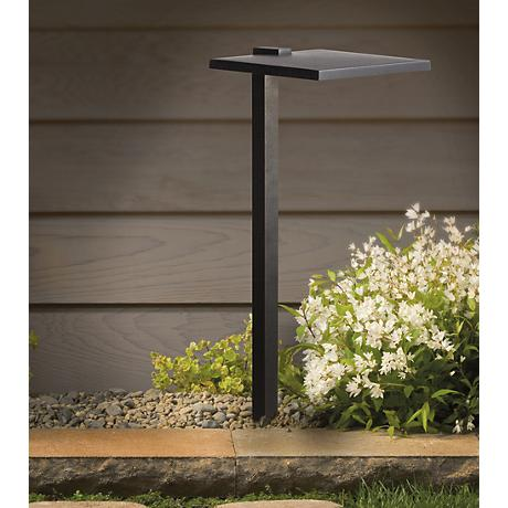 "Kichler 8"" Wide 3000K LED Shallow Shade Black Path Light"
