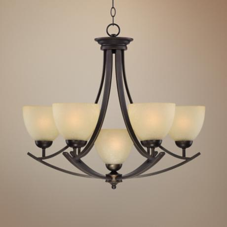 "Bronze 28 3/4"" Wide 7-Light Chandelier"