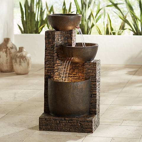 "Mason 35"" High Faux Stone Floor Fountain"