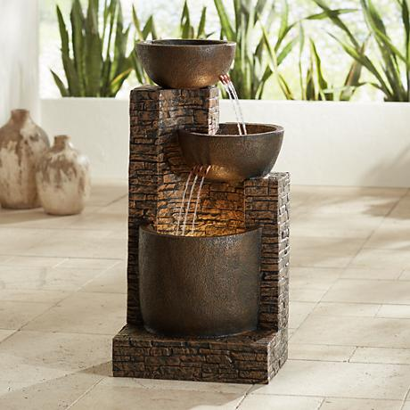 Mason Faux Stone Floor Fountain