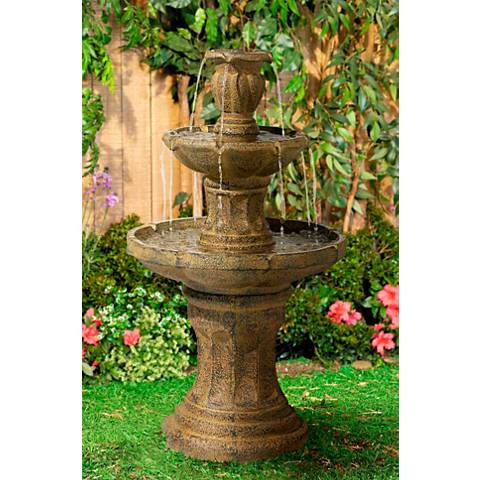 "Tuscan Garden Classic Dark Stone 41 1/2""H 3-Tier Fountain"