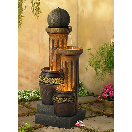 Sphere Jugs and Column Indoor-Outdoor Fountain with Light