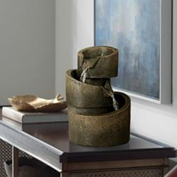 "3-Tier Bronze Stone Contemporary 9 3/4""H Tabletop Fountain"