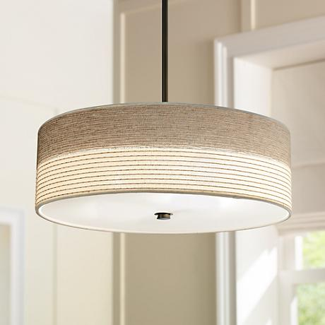 "Fabric Shade with Bronze 20"" Wide Pendant Light"