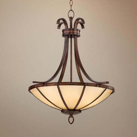"Wilton Bronze 24"" Wide Ecru Glass Bowl Pendant Light"