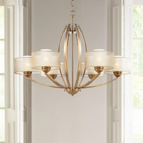 "Possini Euro Alecia 34"" Wide Satin Brass Chandelier"