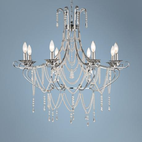 "Chrome and Draped Crystal 32 1/2"" Wide Chandelier"