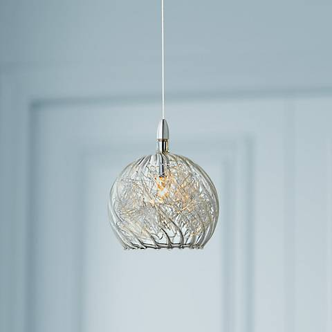 "Possini Euro 4 1/2"" Wide Swirl Wire Glass Mini Pendant Light"